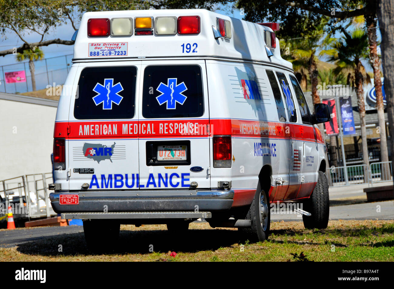 Ambulance Ready for Medical Emergency at Florida State Fairgrounds Tampa - Stock Image