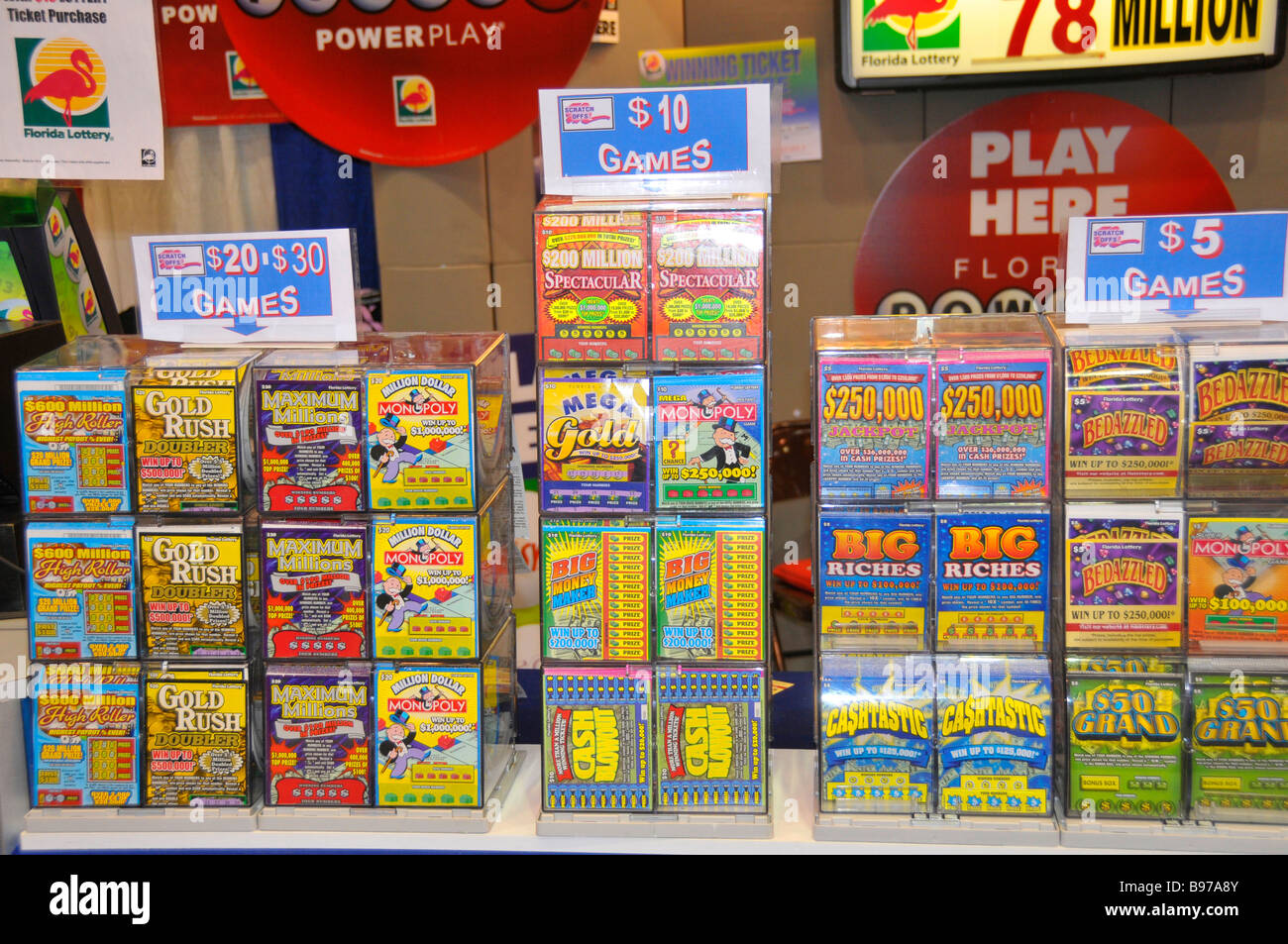 Florida Lottery Tickets Display at Florida State Fairgrounds Tampa - Stock Image