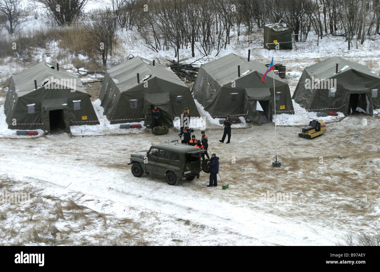 This task force of Russia s Emergency Situations Ministry has pitched camp close to the Petrovskaya border guard - Stock Image