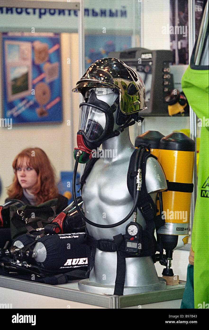 The Inteks MAI company presented a breathing apparatus with a duration of about 2 hours The exhibition Double Purpose - Stock Image