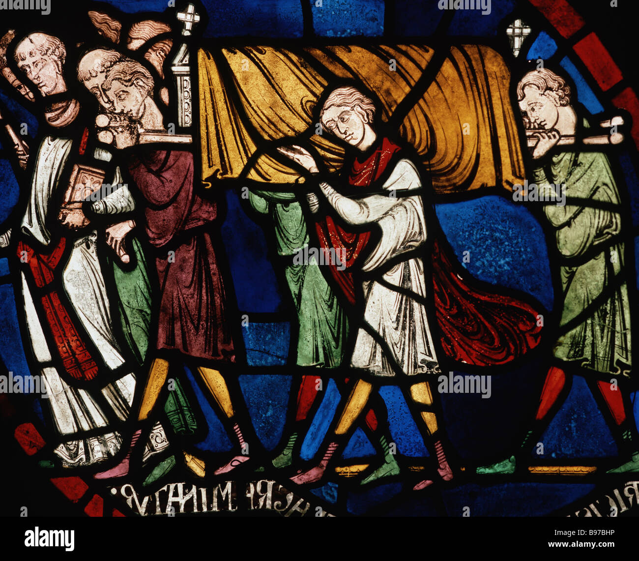 Plague cortege household of Jordan Fitz Eisulf window II panel 9 Trinity Chapel Canterbury Cathedral Stock Photo