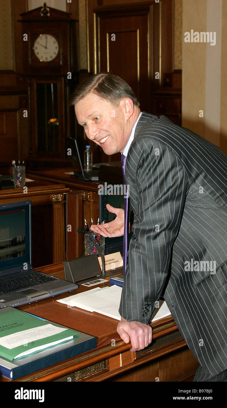 Vice Premier and Defense Minister Sergei Ivanov at a cabinet session - Stock Image
