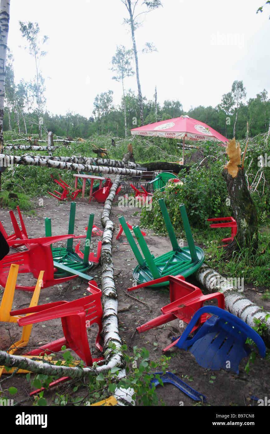 Aftermath of hurricane in Tatarstan - Stock Image
