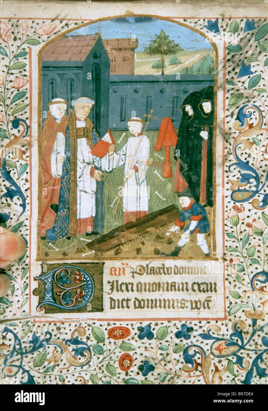 Burial, 14th century Book of Hours, South African Library, Capetown - Stock Image