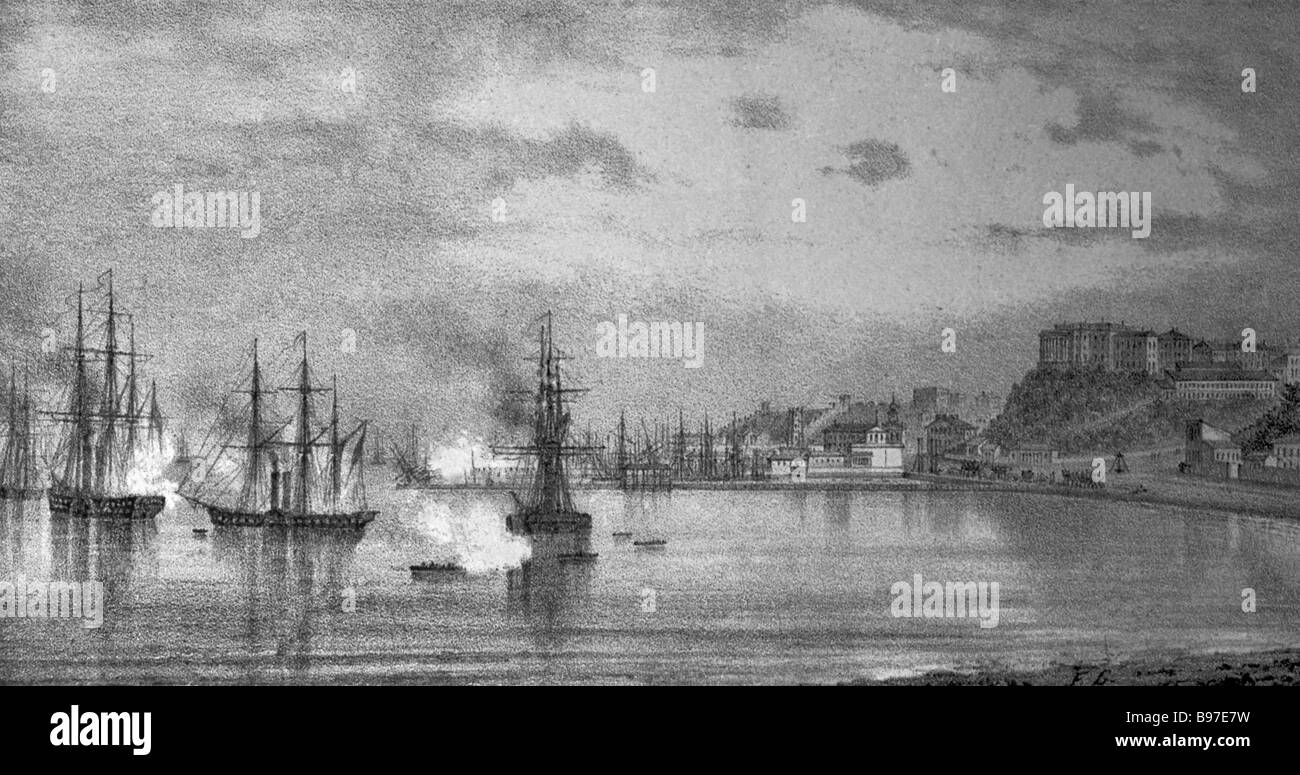 The Crimean War 1853 1856 Bombing of Odessa on April 10 1854 View from Presyp Print of the 19th century - Stock Image