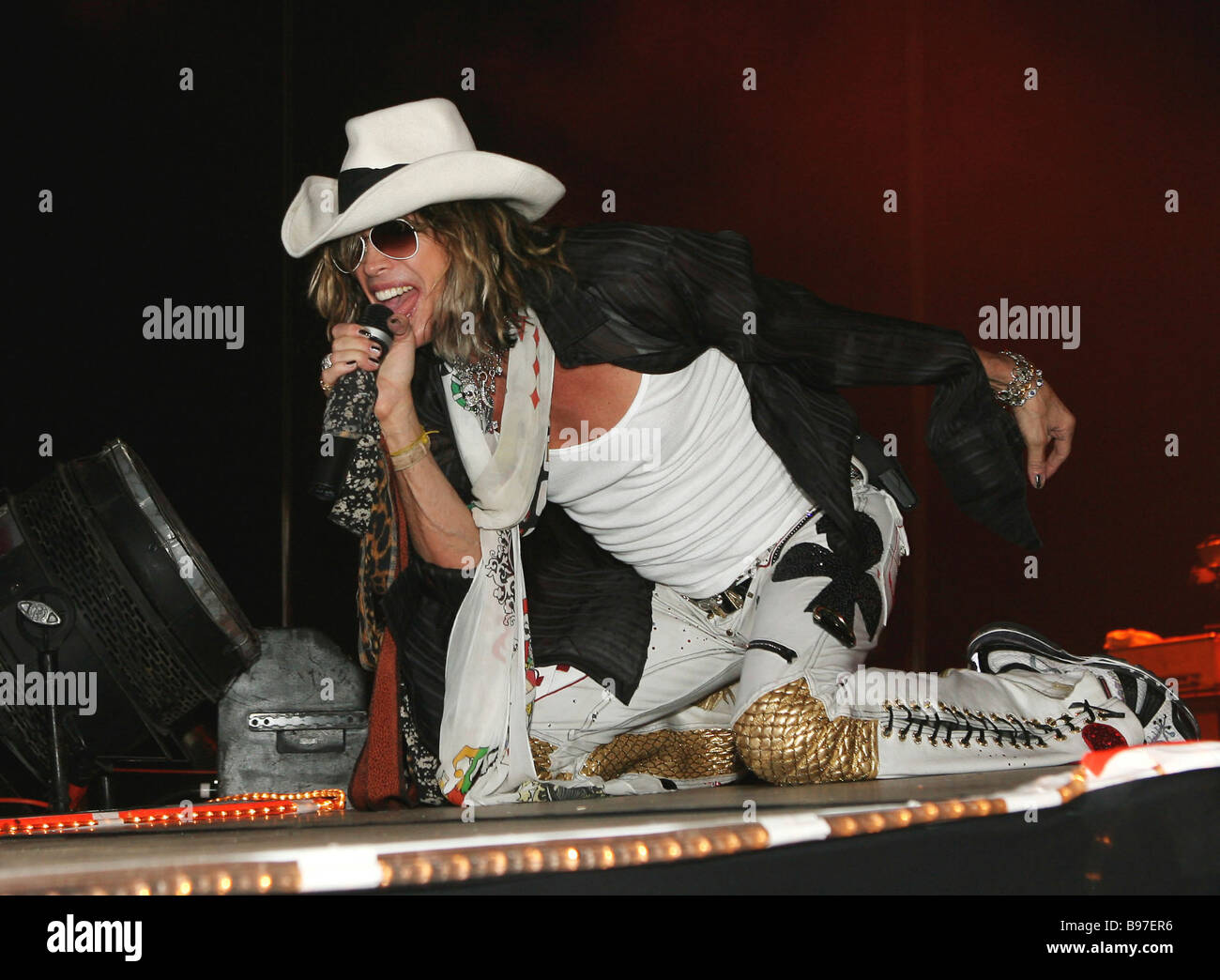 ac27772887e970 Steven Tyler leader and soloist of Aerosmith music group performs at  Olimpiisky sports center - Stock