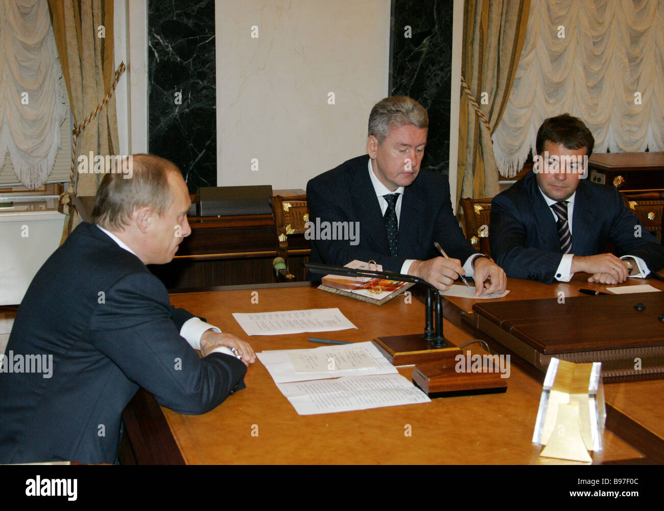 President Vladimir Putin left and his new appointments head of the Kremlin administration Sergei Sobyanin center - Stock Image