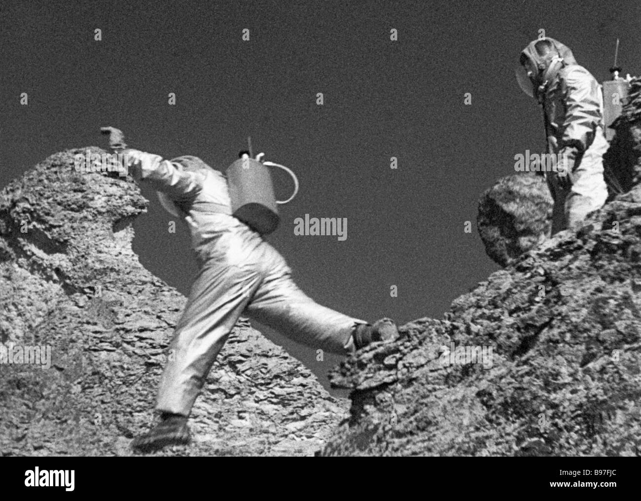 Scene from the film Earth Moon 1960 On the Moon - Stock Image