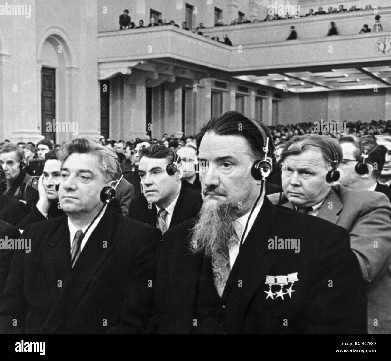 Delegates of the Soviet Communist Party s 21st Extraordinary Congress left to right Thrice Hero of Socialist Labor - Stock Image