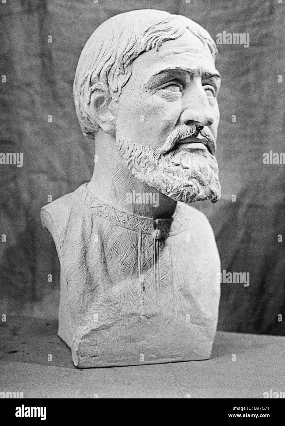 Trailblazing anthropologist and sculptor Mikhail Gerasimov made this bust of a man of the Krivich an early medieval - Stock Image