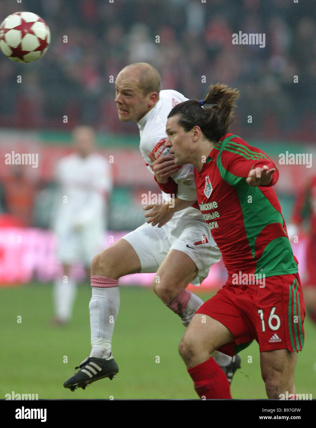A scene in the Spartak Moscow Lokomotiv Moscow match of the Russian Football Championship It ended 1 1 On the right - Stock Image