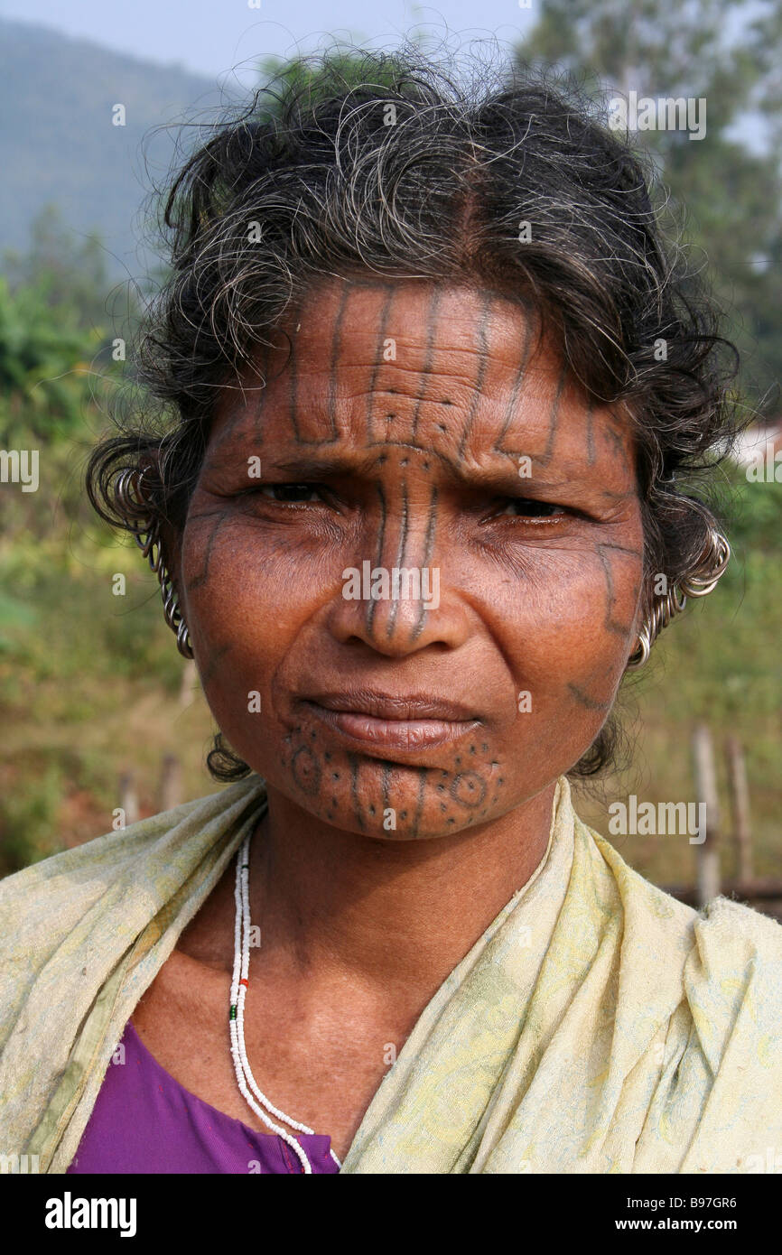 Portrait Of A Kutia Kondh Tribe Woman with Facial Tattoos, Orissa, India - Stock Image