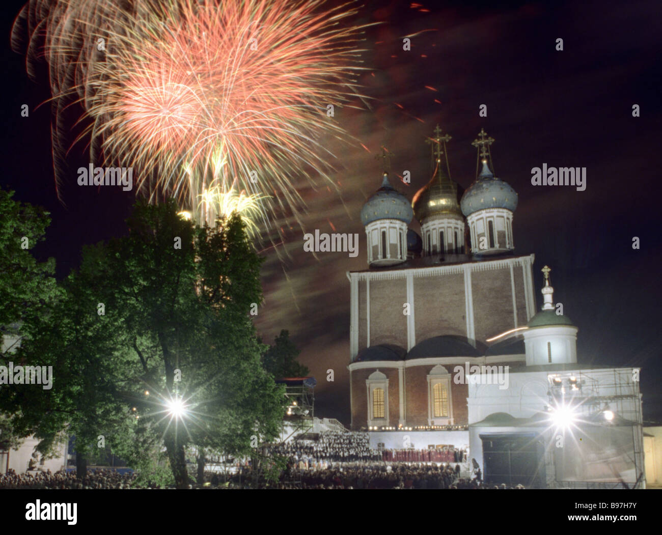 Fireworks display in the Ryazan Kremlin during Slavic alphabet and culture festival - Stock Image