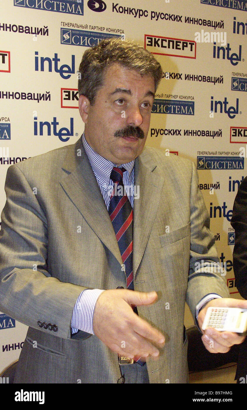 Martyan Nunuparov the Grand Prix winner of the contest Russian Innovations 2004 for Project Electronics Without - Stock Image