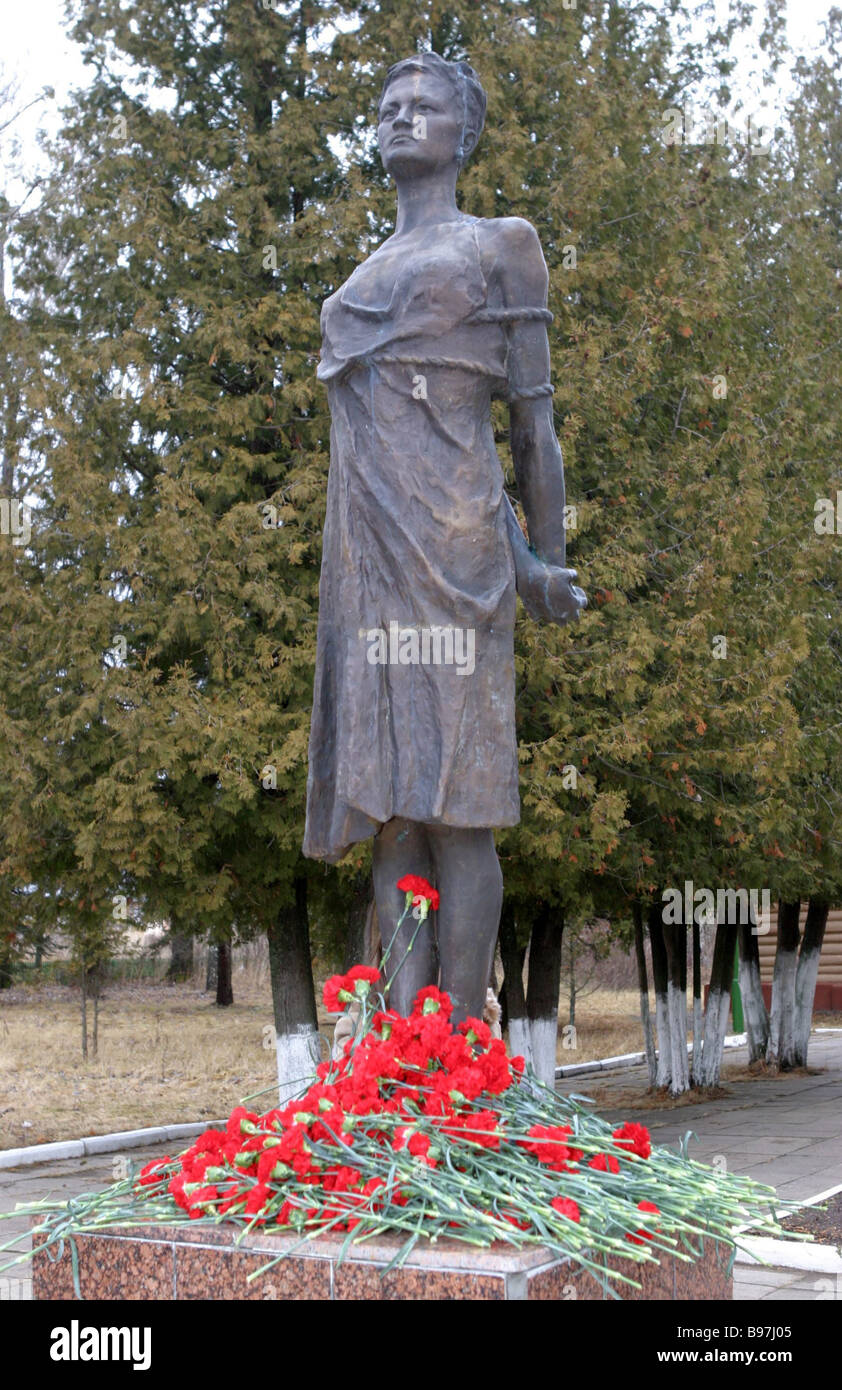 36f19f8b00d A monument to Zoya Kosmodemyanskaya member of the komsomol and the partisan  movement executed by the