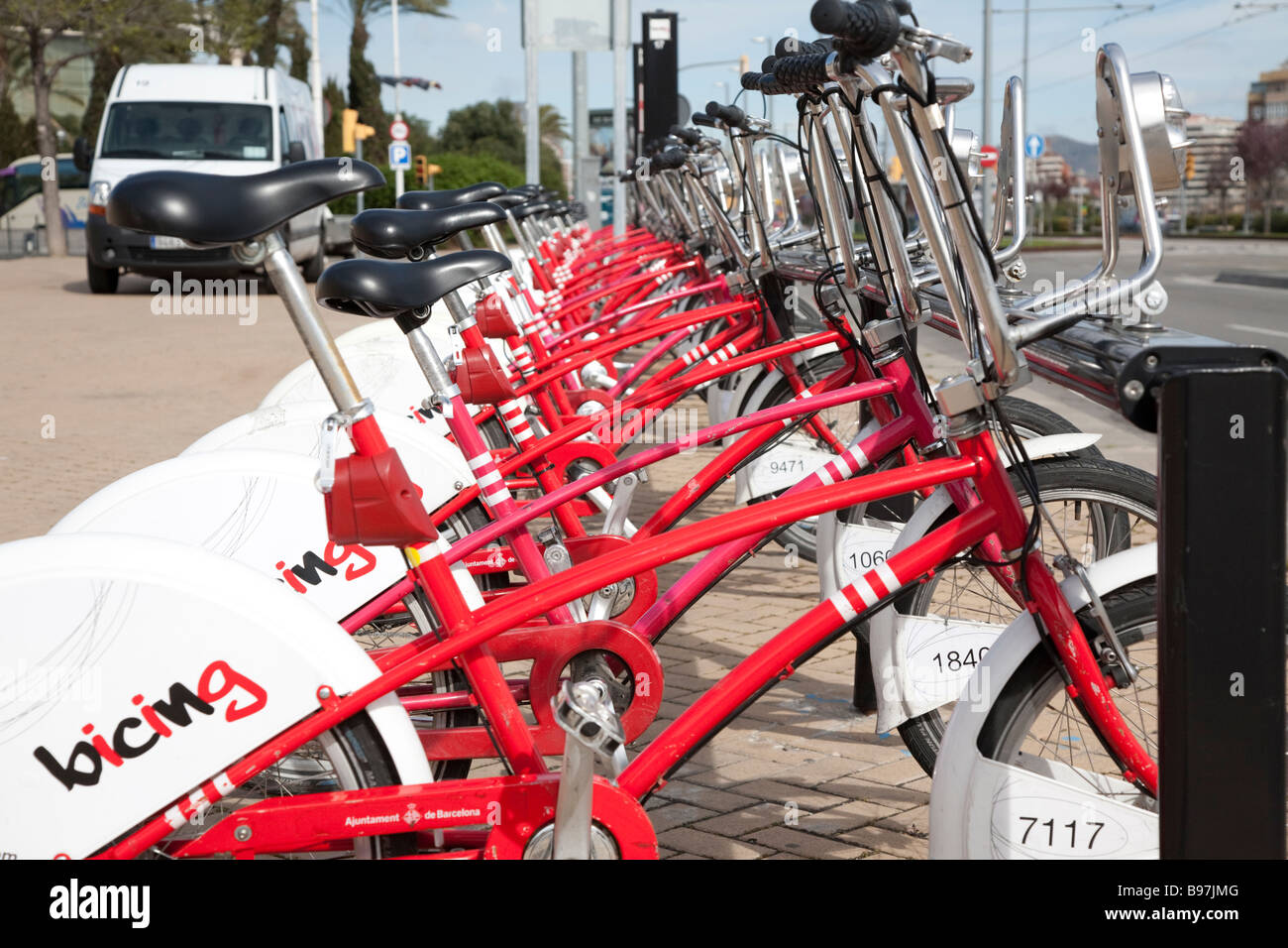 Bicing Bicycle Hire Station near Torre Agba Barcelona Spain - Stock Image