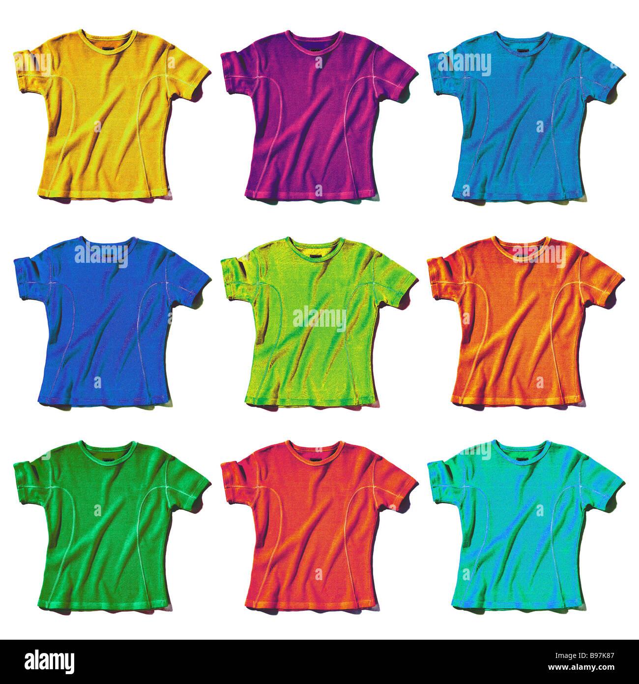 9 coloured t-shirts - Stock Image