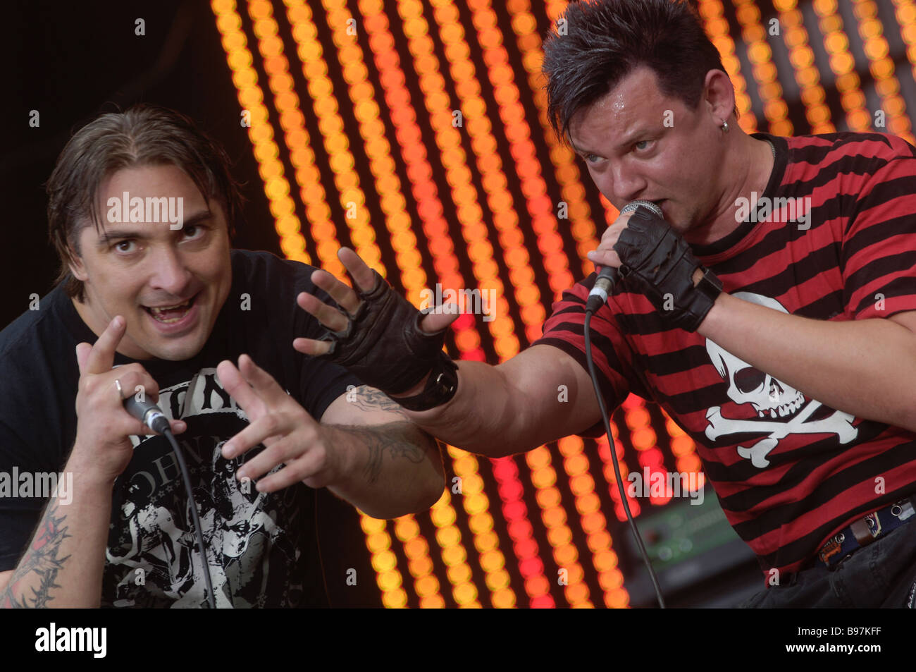 Rock group Korol and Shut King and Fool at the rock festival Krylya 2007 Mikhail Gorshenev left leader of the group - Stock Image