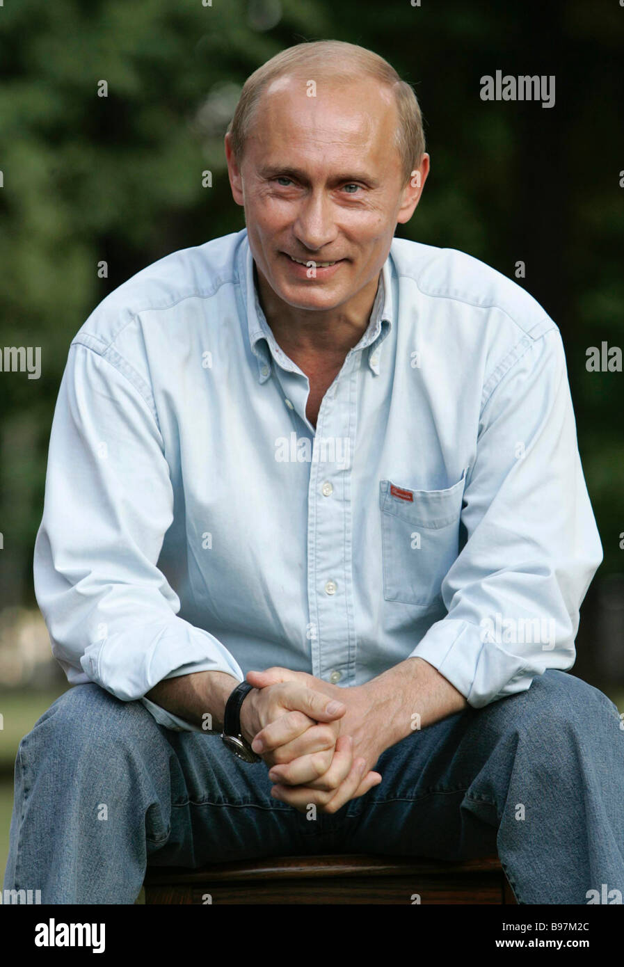 July 24 2007 President Vladimir Putin meeting with Russian youth activists at the Zavidovo presidential country - Stock Image