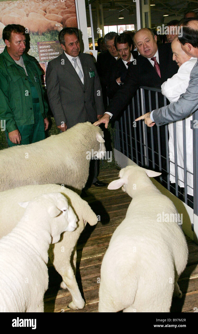 Prime Minister Mikhail Fradkov at the 7th Russian agricultural and industrial exhibition Golden Fall 2005 The National - Stock Image
