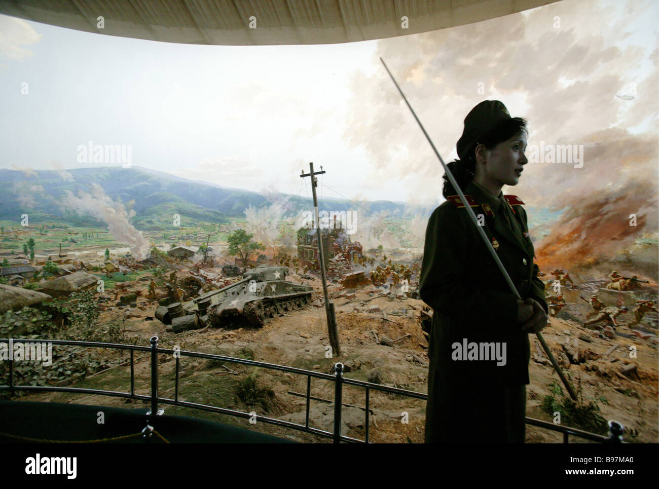 The diorama of the battle at Taejong June 20 1950 in Pyongyang s Victory Museum - Stock Image