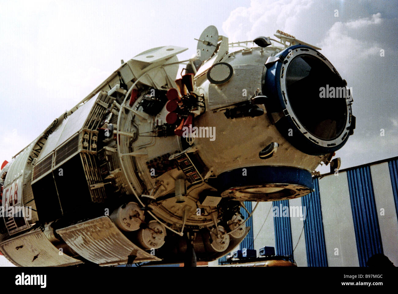 The ISS International Space Station first element Zarya functional cargo unit FGB developed and manufactured by - Stock Image