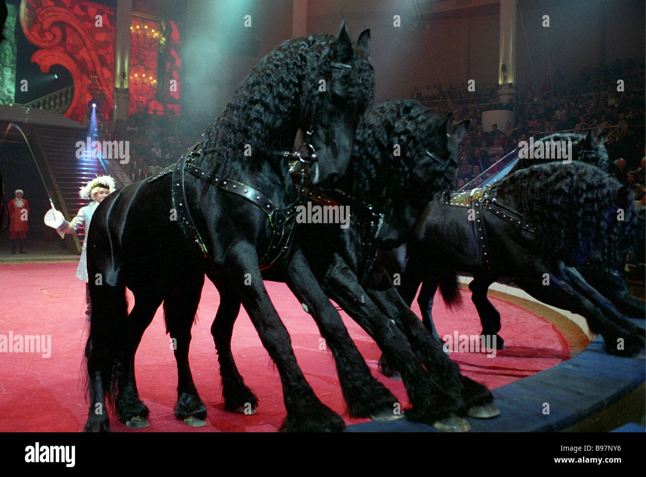 Sarvat Begbudi People s Actor of Russia and his stunt riders in Moscow s Yuri Nikulin Circus jubilee show We re - Stock Image