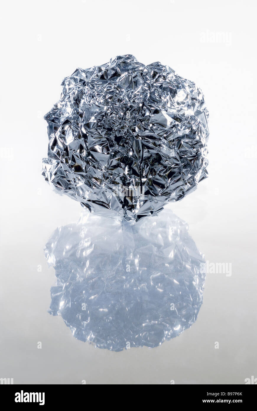 Ball of tin foil - Stock Image