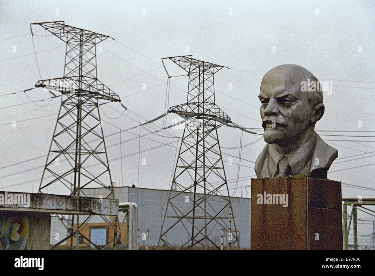 A bust of Lenin at the Chernobyl nuclear power plant - Stock Image