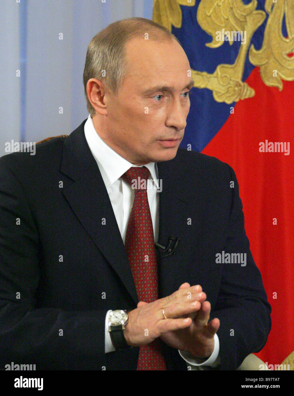 Russian President Vladimir Putin giving an interview to the representatives of the Dutch media on the eve of his - Stock Image