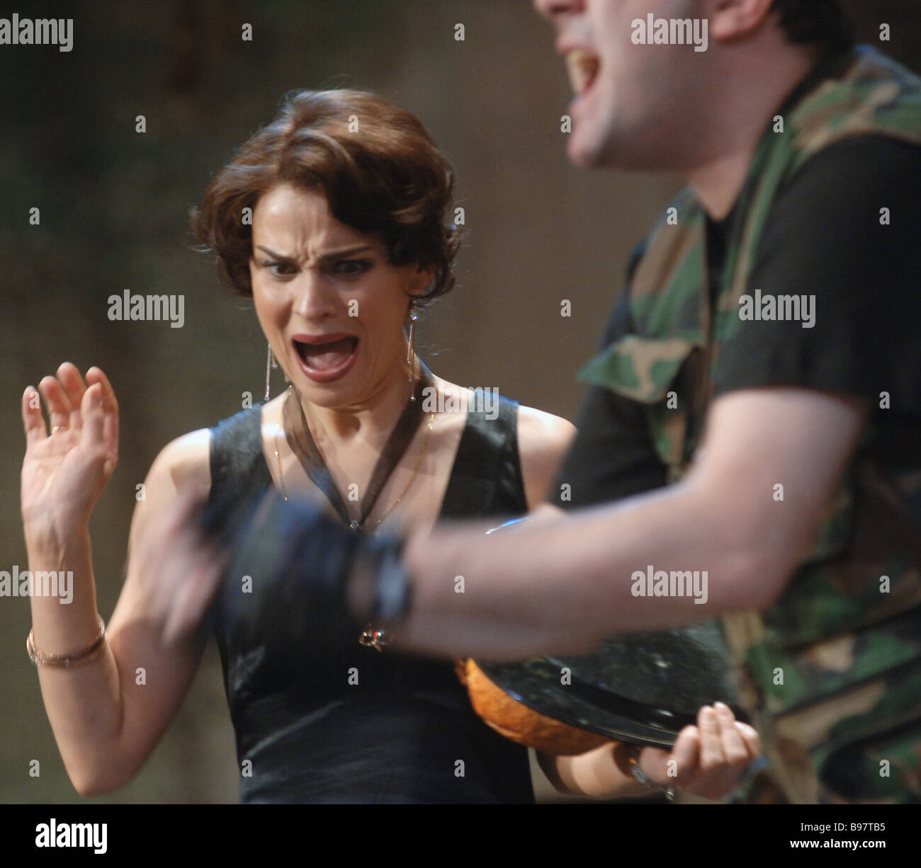 Actress Nino Kasradze during the play The Sorrows of Darispan staged by Robert Sturua artistic director of the Shota Stock Photo