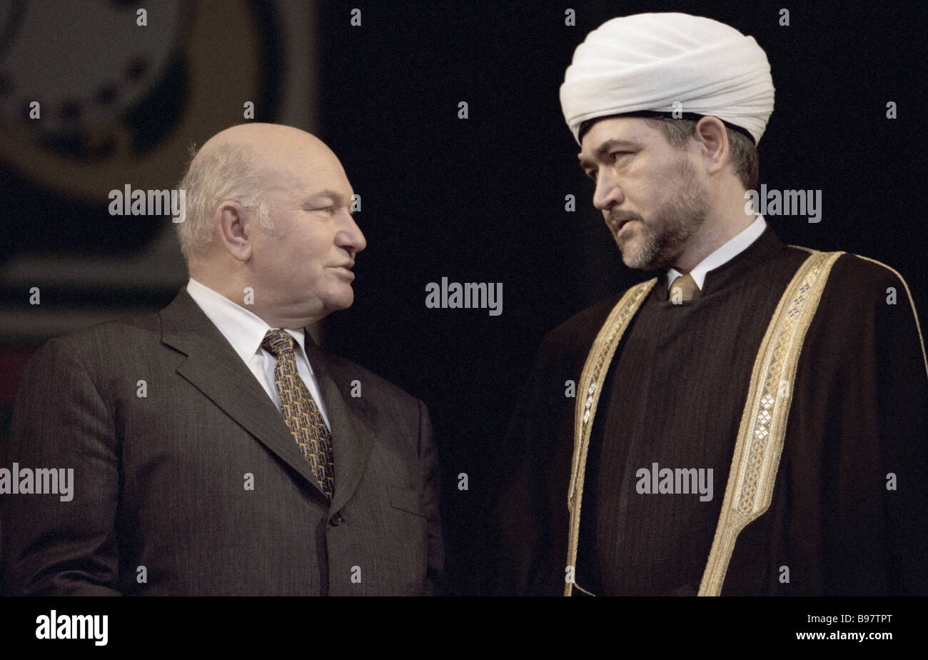 Mufti Ravil Gainutdin Muslim Board President for European Russia right and Moscow Mayor Yuri Luzhkov - Stock Image