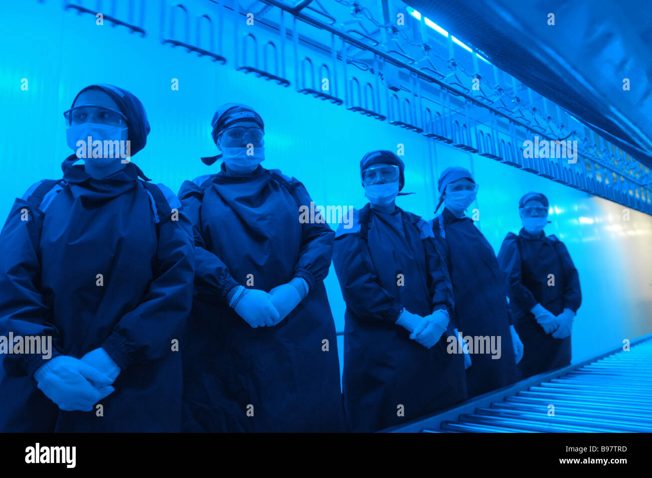 Workers at a new poultry processing factory of the Mosselprom firm before production start - Stock Image
