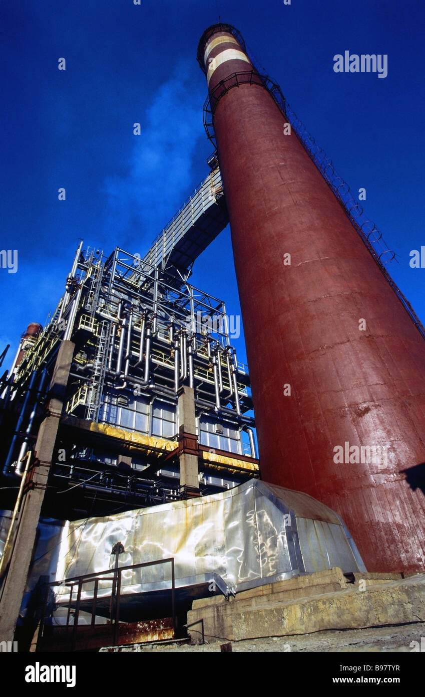 State of the art oil refining unit at refinery OAO Surgutneftegaz in Kirishi - Stock Image