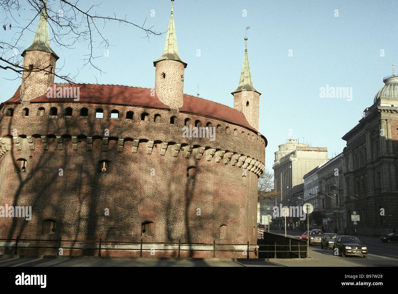 Gothic style Bastion Barbakan was built in 1498 1499 by serfs - Stock Image