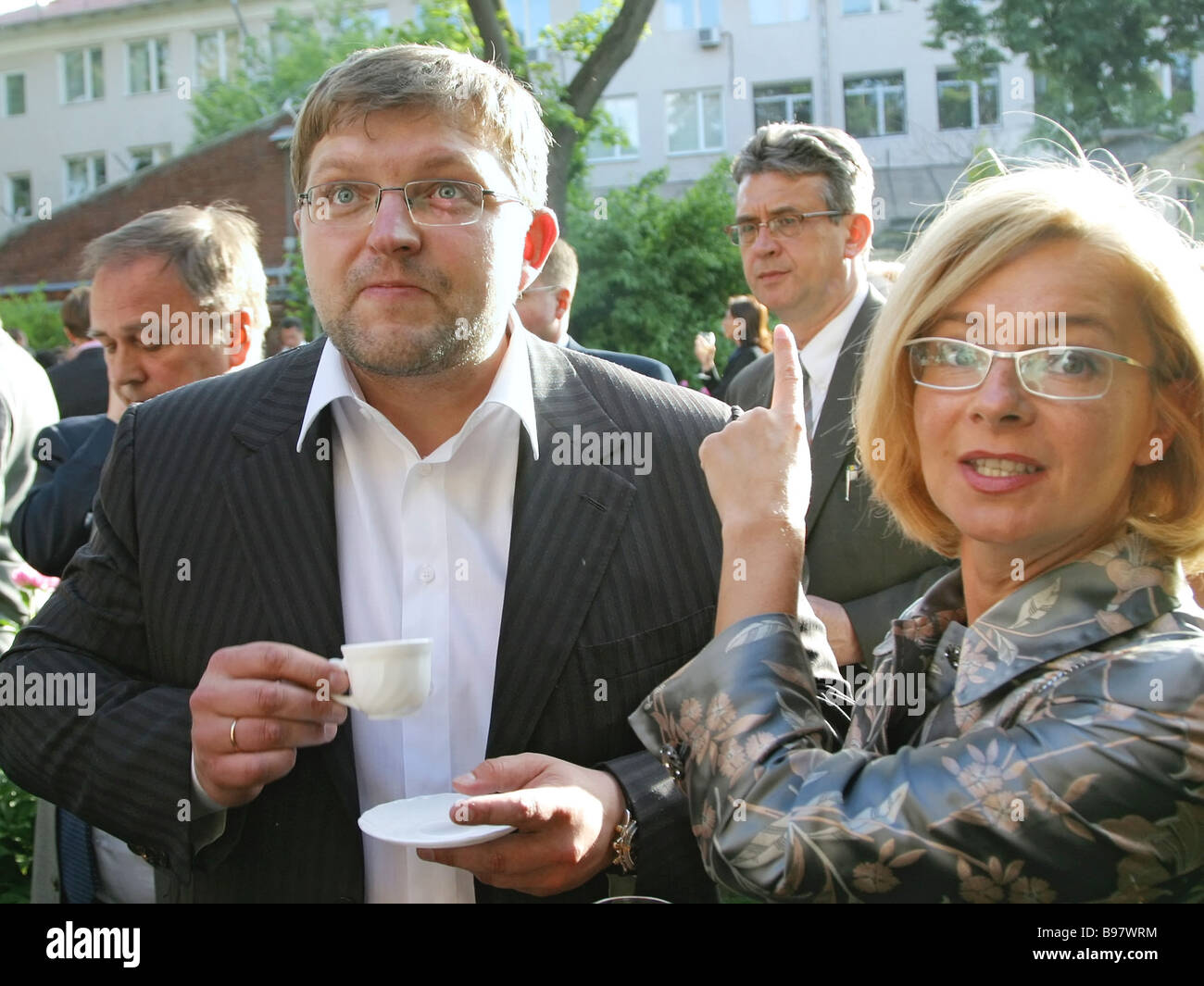 SPS leader Nikita Belykh with his wife Ella at a party hosted by the Italian embassy Stock Photo