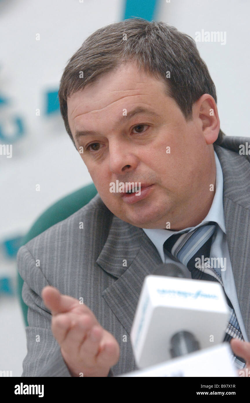 Mikhail Balakin chairman of the board of the SU 155 company during a news conference entitled Moscow Construction - Stock Image