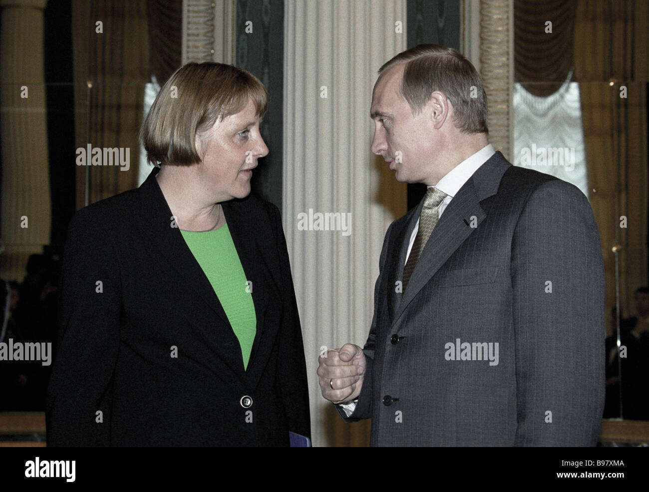 Angela Merkel head of the Christian Democratic Union CDU the main opposition party of Germany and Vladimir Putin - Stock Image