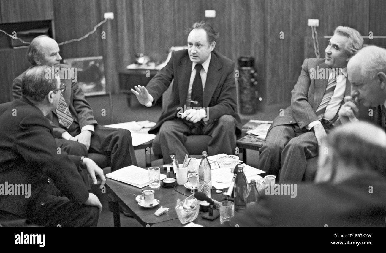 Scientific round table on the occasion of 65 years since Vladimir Lenin completed his book Imperialism as the upper - Stock Image
