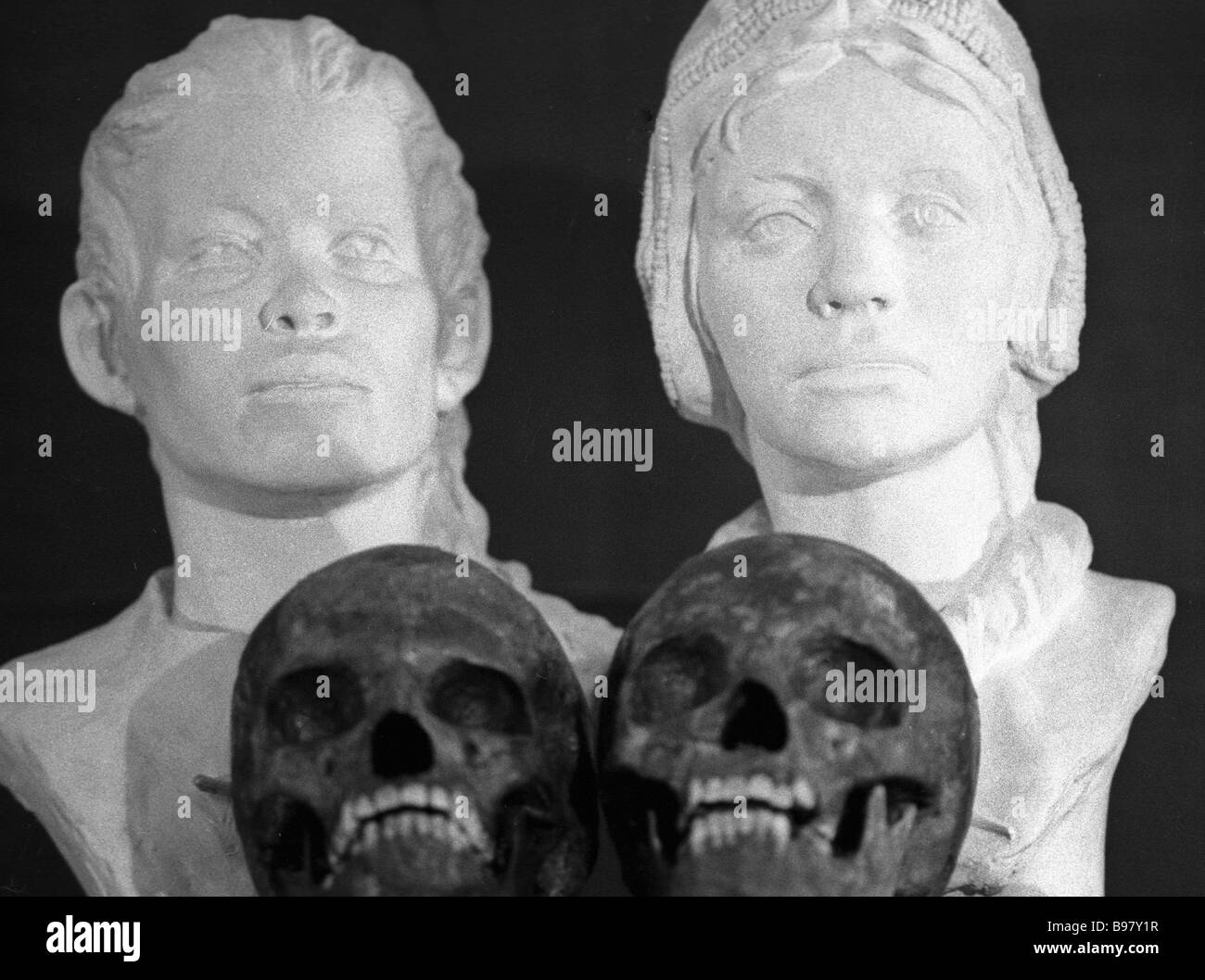 The plastic anthropological reconstruction laboratory has produced sculptured portraits of the children whose sculls - Stock Image