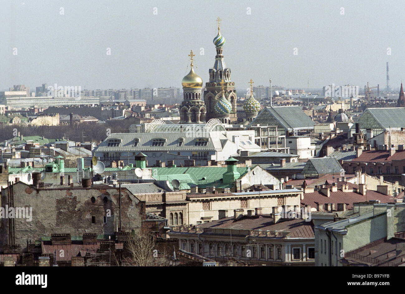 Domes of the Church of the Resurrection St Petersburg - Stock Image