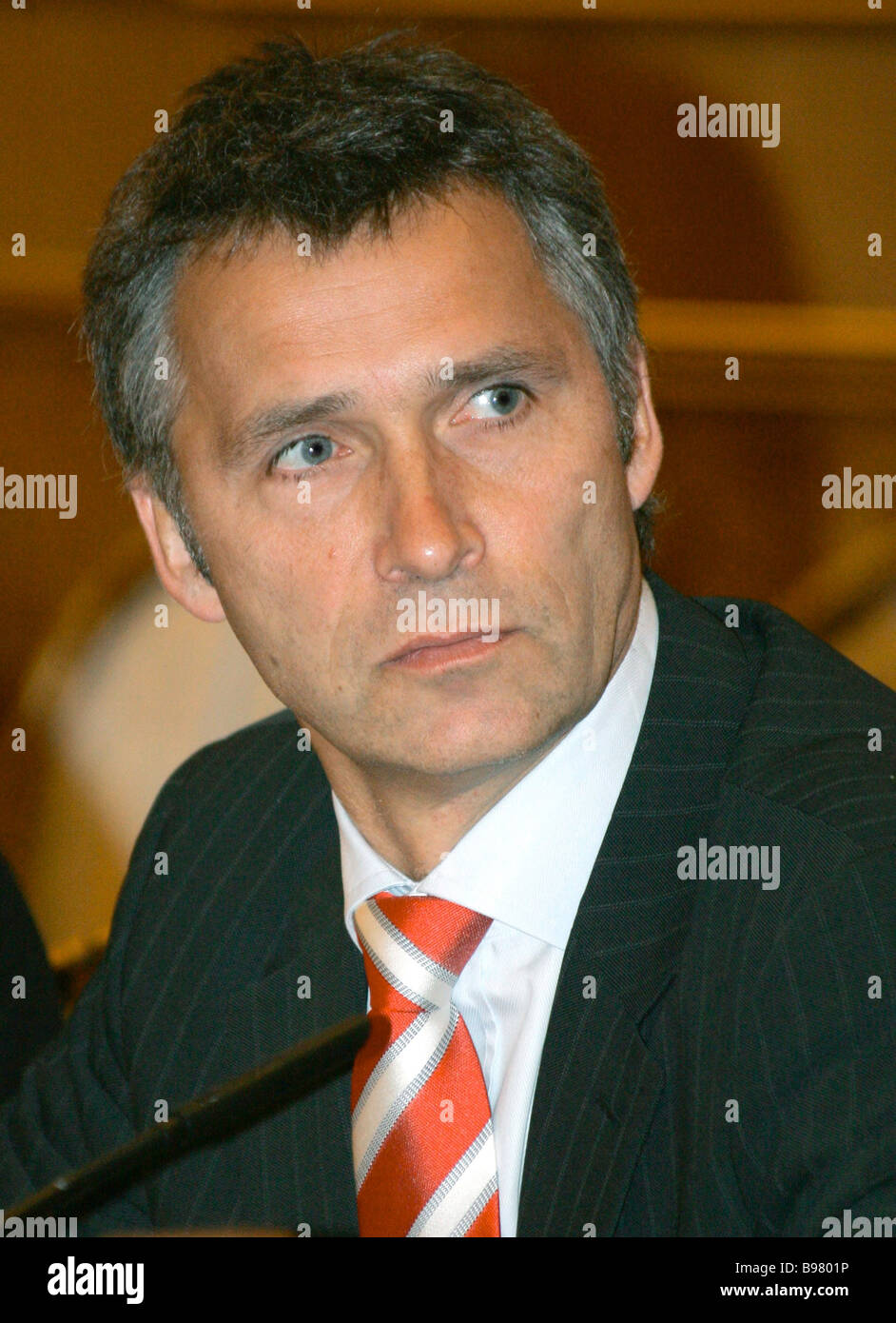Norwegian Prime Minister Jens Stoltenberg visits Moscow - Stock Image