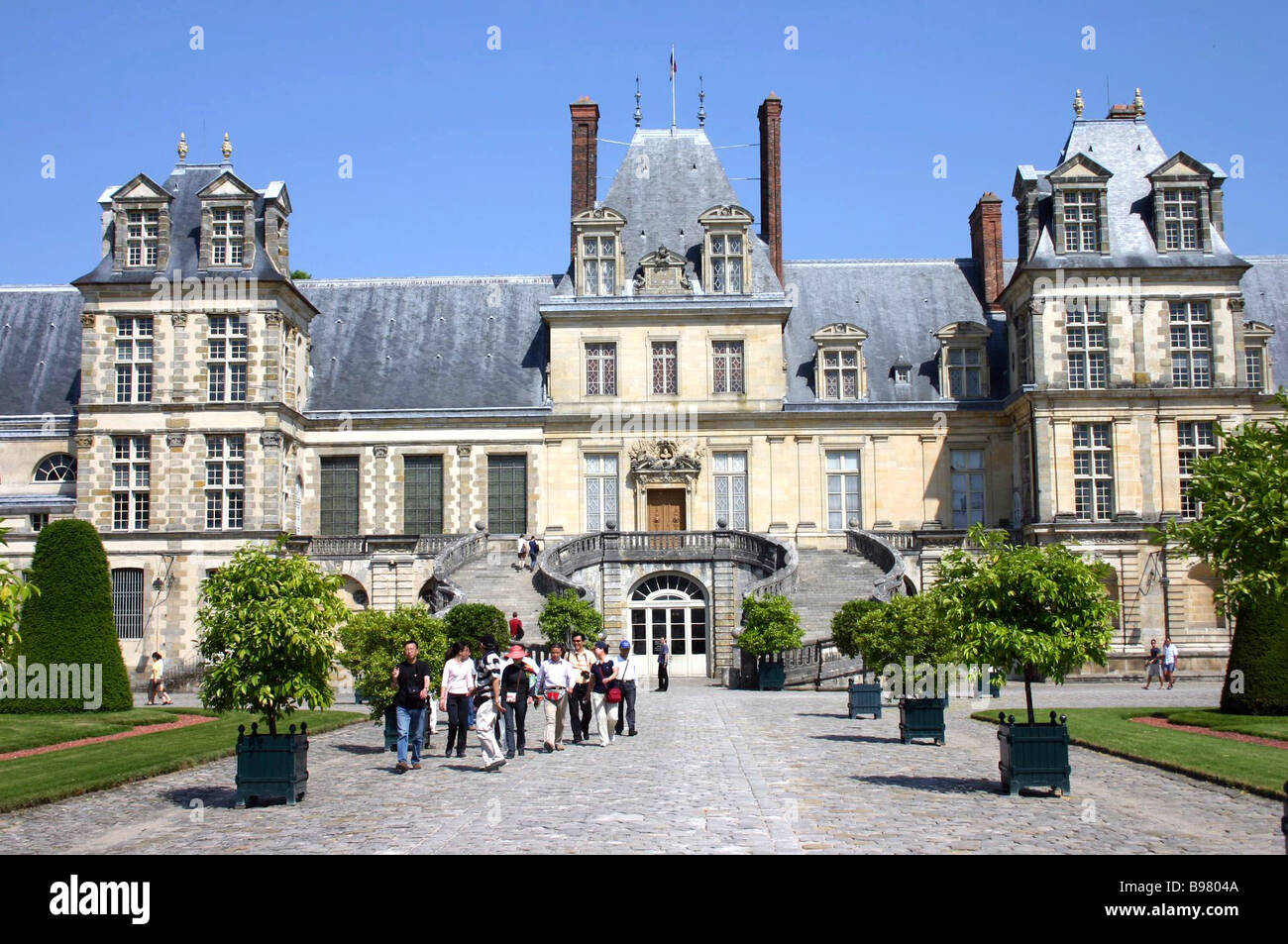 France The chateau of Fontainebleau was one of the best loved residences of the kings of France Leading to the central Stock Photo
