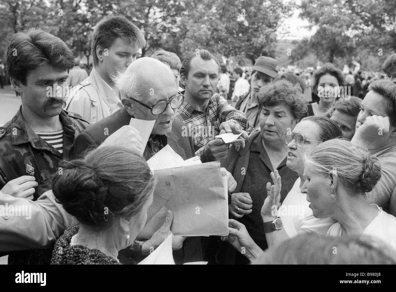 Academician Andrei Sakharov talks to his electorate during the USSR People s Deputies Congress - Stock Image