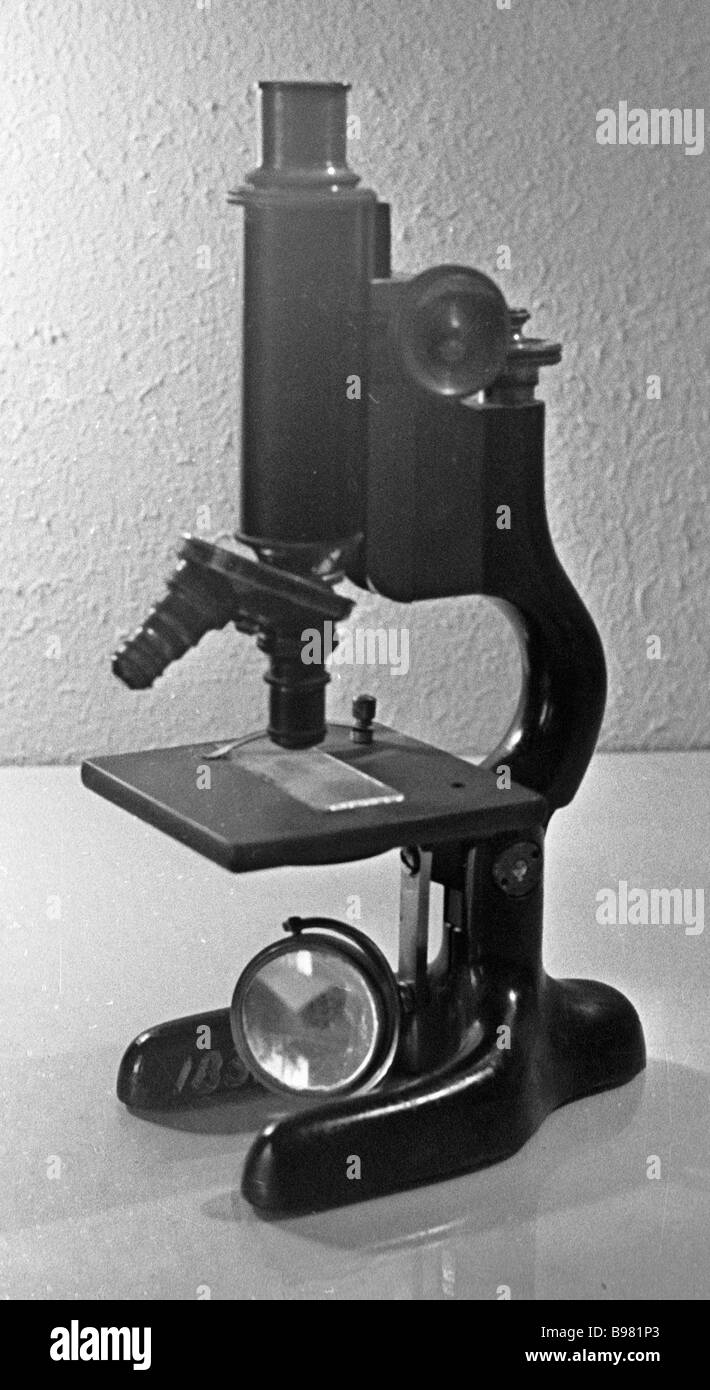 Krauss Busch microscope of the late nineteenth century from collection of the Microscope Museum - Stock Image