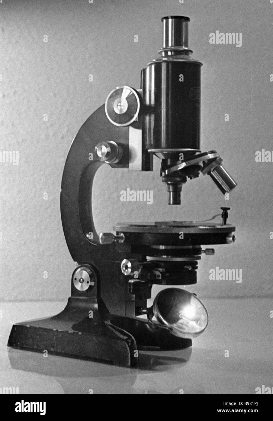Steindorf microscope of the mid nineteenth century from collection of the Microscope Museum - Stock Image