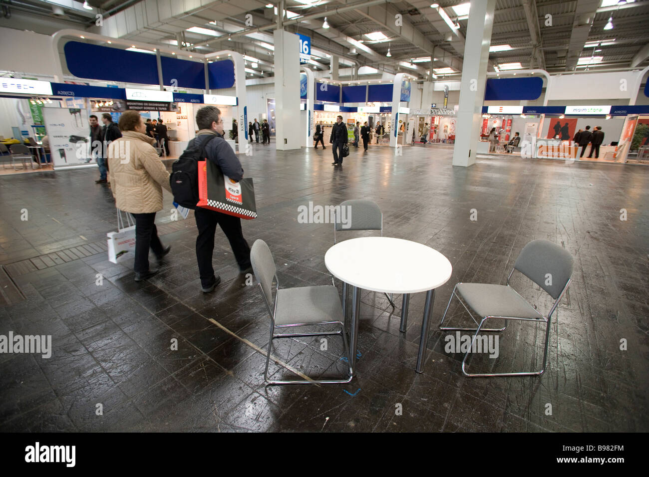 CeBIT due to the economic crisis various fair pavilions are not completely occupied with fair booths - Stock Image
