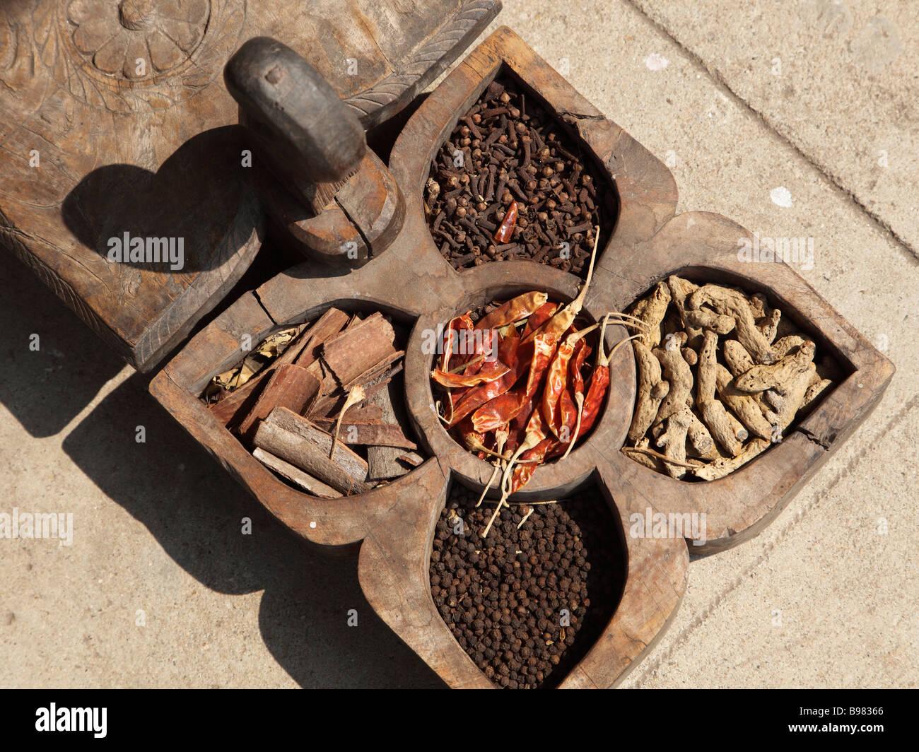 India Kerala Kochi Mattancherry Jew Town spice shop spices - Stock Image