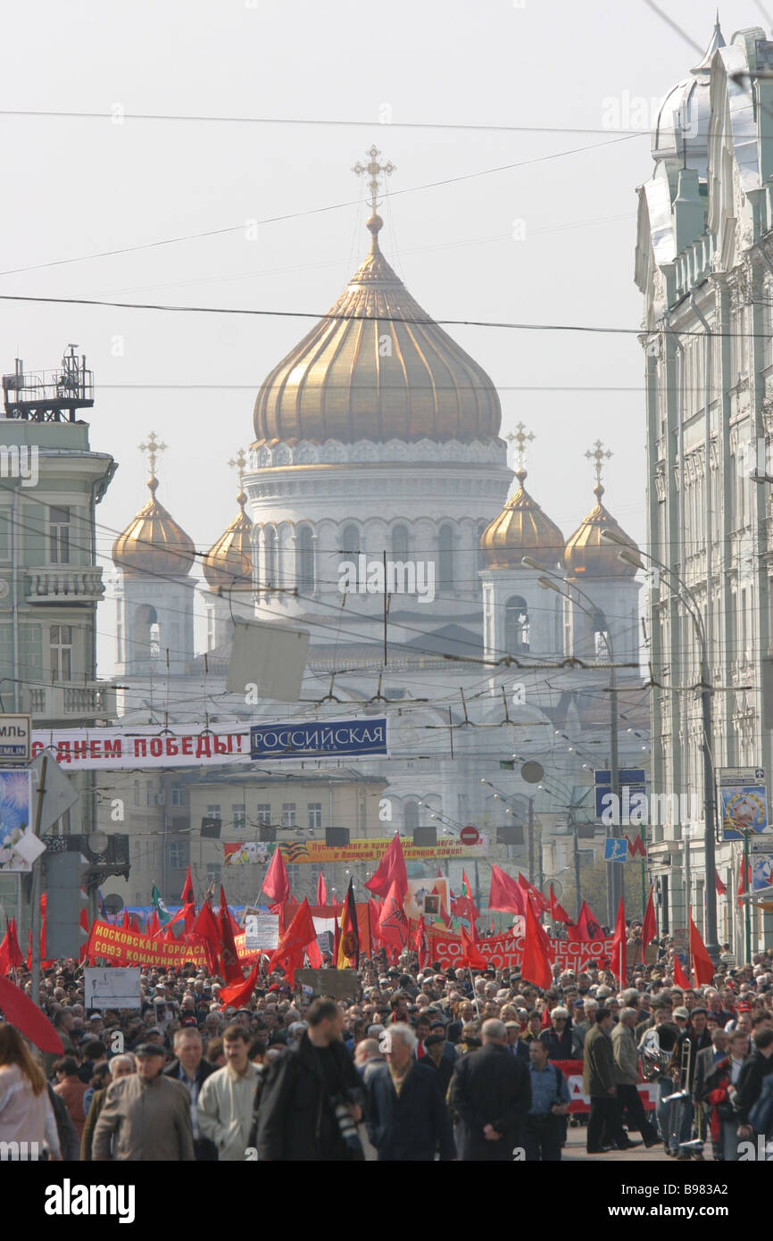 Mayday demonstration of Left wing political parties and organizations - Stock Image