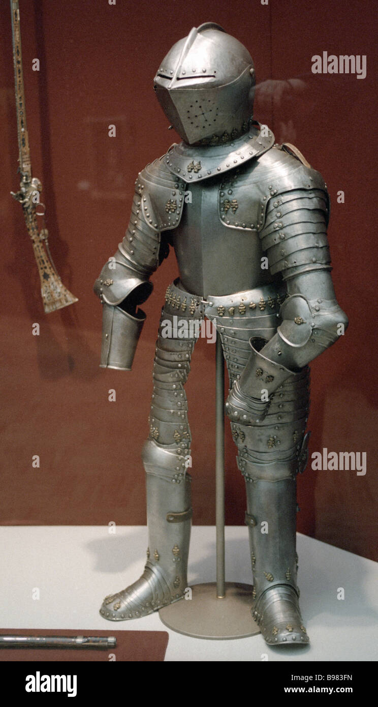 Tsar Peter the Great wore this suit of armor in childhood Second half of the 17th century Iron brass leather From - Stock Image